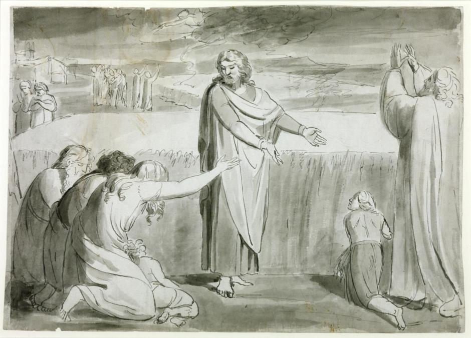 The Good Farmer, Probably the Parable of the Wheat and the Tares. Verso: Rough Sketch of Two or Three Figures in a Landscape c.1780-5 by William Blake 1757-1827