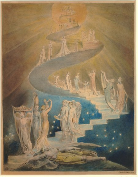 William Blake (1757–1827), Jacob's Ladder, or Jacob's Dream (1799-1806), pen and grey ink and watercolour on paper, 39.8 x 30.6 cm, The British Museum, London. Courtesy of and © Trustees of the British Museum.