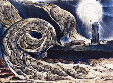 William Blake (1757–1827), The Circle of the Lustful: Francesca da Rimini (The Whirlwind of Lovers) (c 1824), pen and watercolour over pencil, 36.8 x 52.2 cm, Birmingham Museums and Art Gallery, Birmingham, England. The Athenaeum.