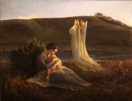 Louis Janmot (1814–1892), The Angel and the Mother (Poem of the Soul 3) (1854), oil on panel, dimensions not known, Musée des Beaux-Arts, Lyon, France. Courtesy of Musée des Beaux-Arts, via Wikimedia Commons.
