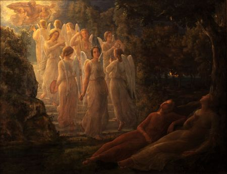 Louis Janmot (1814–1892), The Golden Stairs (Poem of the Soul 12) (1854), oil on panel, dimensions not known, Musée des Beaux-Arts, Lyon, France. Courtesy of Musée des Beaux-Arts, via Wikimedia Commons.