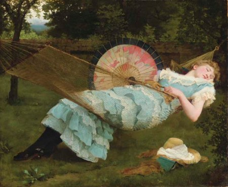 Valentine Cameron Prinsep (1838–1904), Dolce Far Niente (Sweet Repose) (1885), oil on canvas, 63.5 cm. x 76.2 cm, Private collection. Wikimedia Commons.