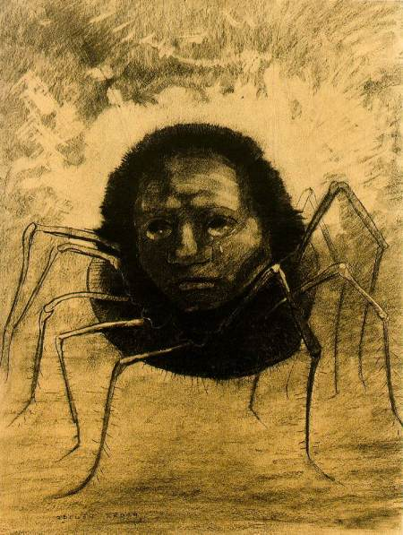 Odilon Redon (1840–1916), l'Araignée qui pleure (The Crying Spider) (1881), charcoal, 49.5 x 37.5 cm, Private collection. Wikimedia Commons.
