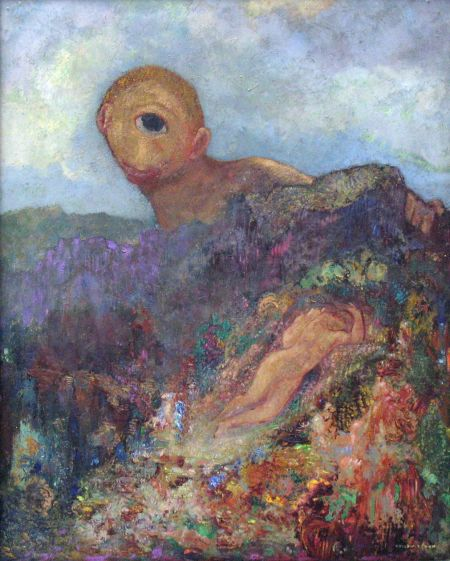 Odilon Redon (1840–1916), The Cyclops (c 1914), oil on cardboard mounted on panel, 65.8 × 52.7 cm, Kröller-Müller Museum, Otterlo, The Netherlands. Wikimedia Commons.