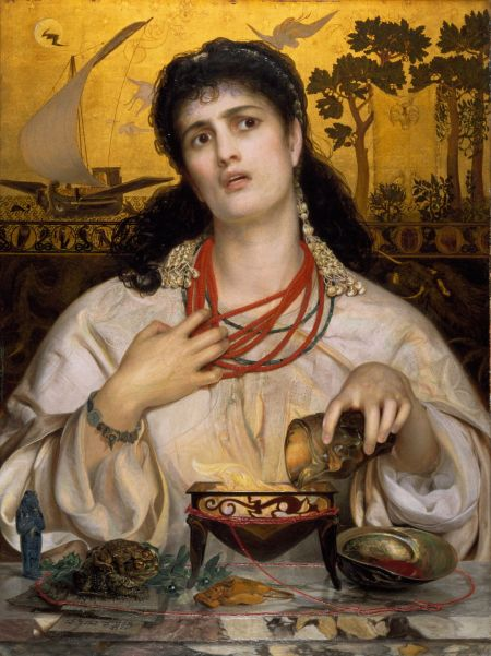 Frederick Sandys (1829–1904), Medea (1866-68), oil on wood panel with gilded background, 61.2 x 45.6 cm, Birmingham Museum and Art Gallery, Birmingham England. Wikimedia Commons.