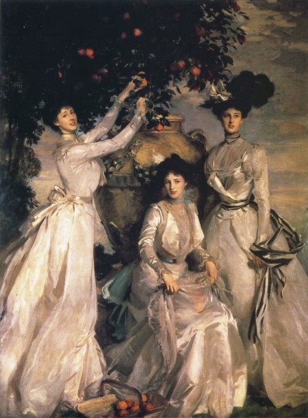 John Singer Sargent (1856–1925), The Ladies Alexandra, Mary, and Theo Acheson (The Acheson Sisters) (1902), oil on canvas, 273.6 x 200.6 cm, The Devonshire Collection, Chatsworth House, Derbyshire, England. Wikimedia Commons.