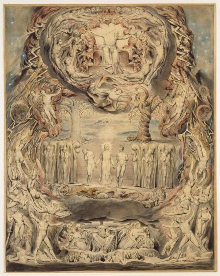 William Blake (1757–1827), The Fall of Man (1807), pen and watercolour on thin card, 48.3 x 38.7 cm, Victoria and Albert Museum, London. Image courtesy of and © Victoria and Albert Museum, London.