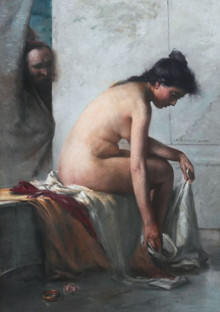 Lovis Corinth (1858–1925), Susanna Bathing (Susanna and the Elders) (1890), oil on canvas, 159 x 111.8 cm, Private collection. Wikimedia Commons.