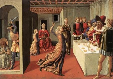Benozzo Gozzoli (1420–1497), The Dance of Salome (1461-62), tempera on panel, 23.8 x 34.3 cm, The National Gallery of Art, Washington, DC. Wikimedia Commons.