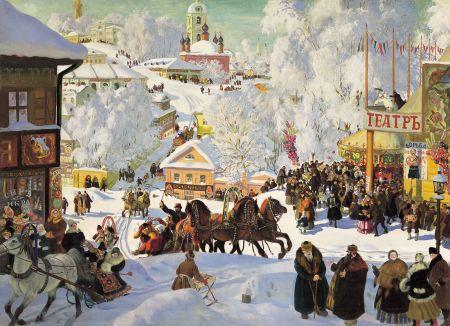 Boris Kustodiev (1878–1927), Maslenitsa (1919), oil on canvas, 71 x 98 cm, Isaak Brodsky Museum, Saint Petersburg, Russia. Wikimedia Commons.