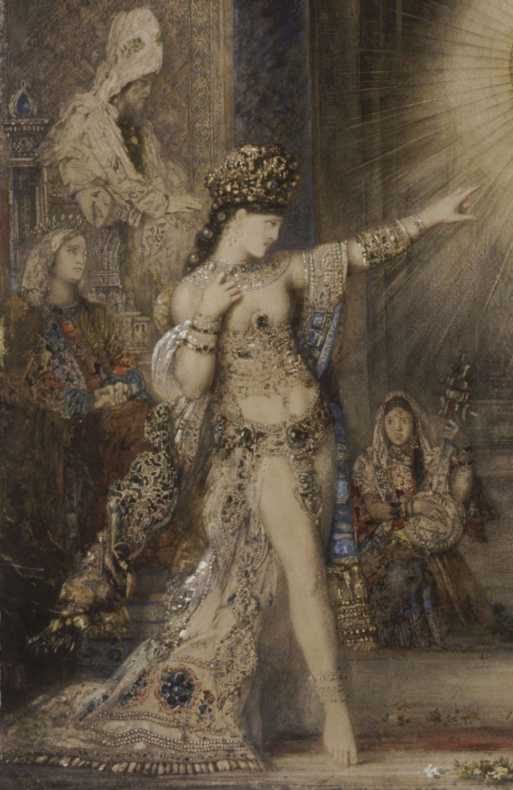 Gustave Moreau (1826–1898), The Apparition (detail) (c 1876), watercolour on paper, 106 x 72 cm, Musée d'Orsay, Paris. Wikimedia Commons.