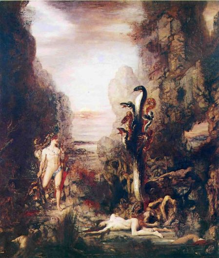 Gustave Moreau (1826–1898), Hercules and the Lernean Hydra (1876), oil on canvas, 175 × 153 cm, The Art Institute of Chicago, Chicago, IL. Wikimedia Commons.