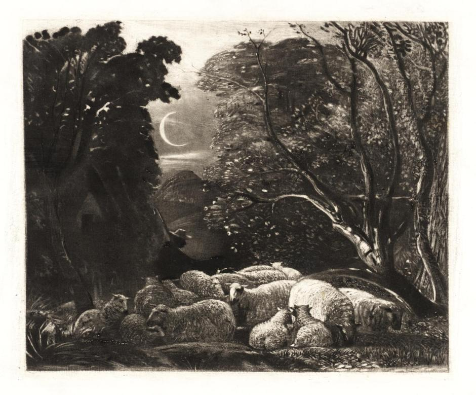 Evening, engraved by Welby Sherman 1834 by Samuel Palmer 1805-1881
