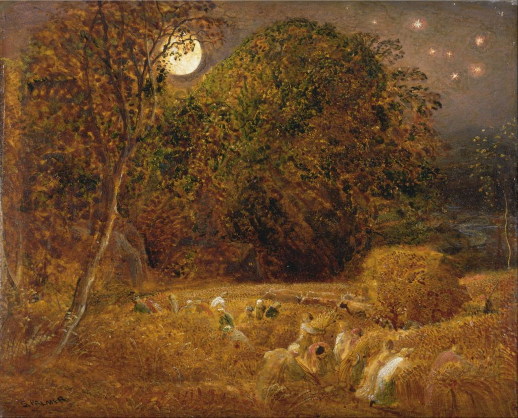 Samuel Palmer (1805–1881), The Harvest Moon (c 1833), oil on paper, laid on panel, 22.2 x 27.6 cm, Yale Center for British Art, New Haven, CT. Wikimedia Commons.