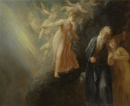 "Thomas Stothard (1755-1834), Prospero, Miranda and Ariel, from ""The Tempest,"" Act I, scene ii (c 1799), oil on paper laid on canvas, 21 x 26 cm, Yale Center for British Art, New Haven, CT. Wikimedia Commons."