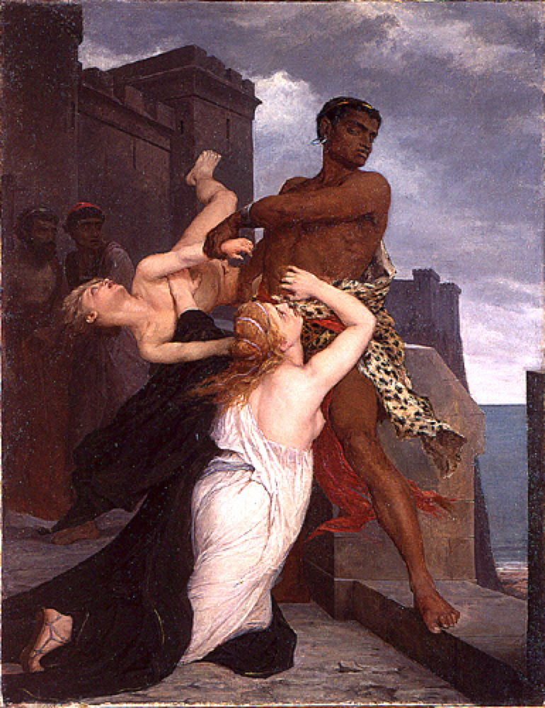 Edouard-Théophile Blanchard (1844-1879), The Death of Astyanax (1868), oil, dimensions not known, Ecole Nationale Supérieure des Beaux-Arts, Paris. Image by VladoubidoOo, via Wikimedia Commons.