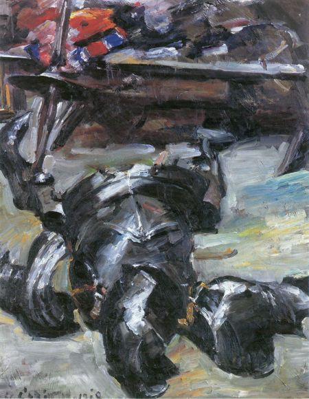 Lovis Corinth (1858–1925), Armour Parts in the Studio (1918), oil on canvas, 97 × 82 cm, Staatliche Museen Berlin, Berlin. Wikimedia Commons.
