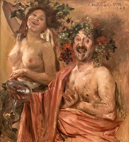 Lovis Corinth (1858–1925), Bacchante Couple (1908), oil on canvas, 111.5 × 101.5 cm, Private collection. Wikimedia Commons.