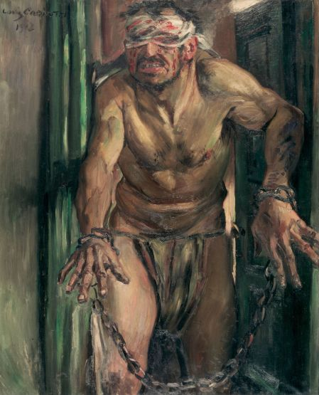 Lovis Corinth (1858–1925), The Blinded Samson (1912), oil on canvas, 105 x 130 cm, Alte Nationalgalerie, Berlin. Wikimedia Commons.