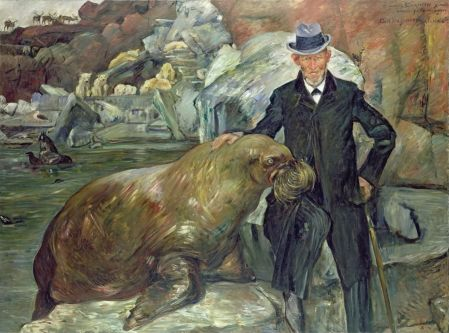 Lovis Corinth (1858–1925), Carl Hagenbeck in his Zoo (1911), oil on canvas, 200 × 271 cm, Hamburger Kunsthalle, Hamburg, Germany. Wikimedia Commons.