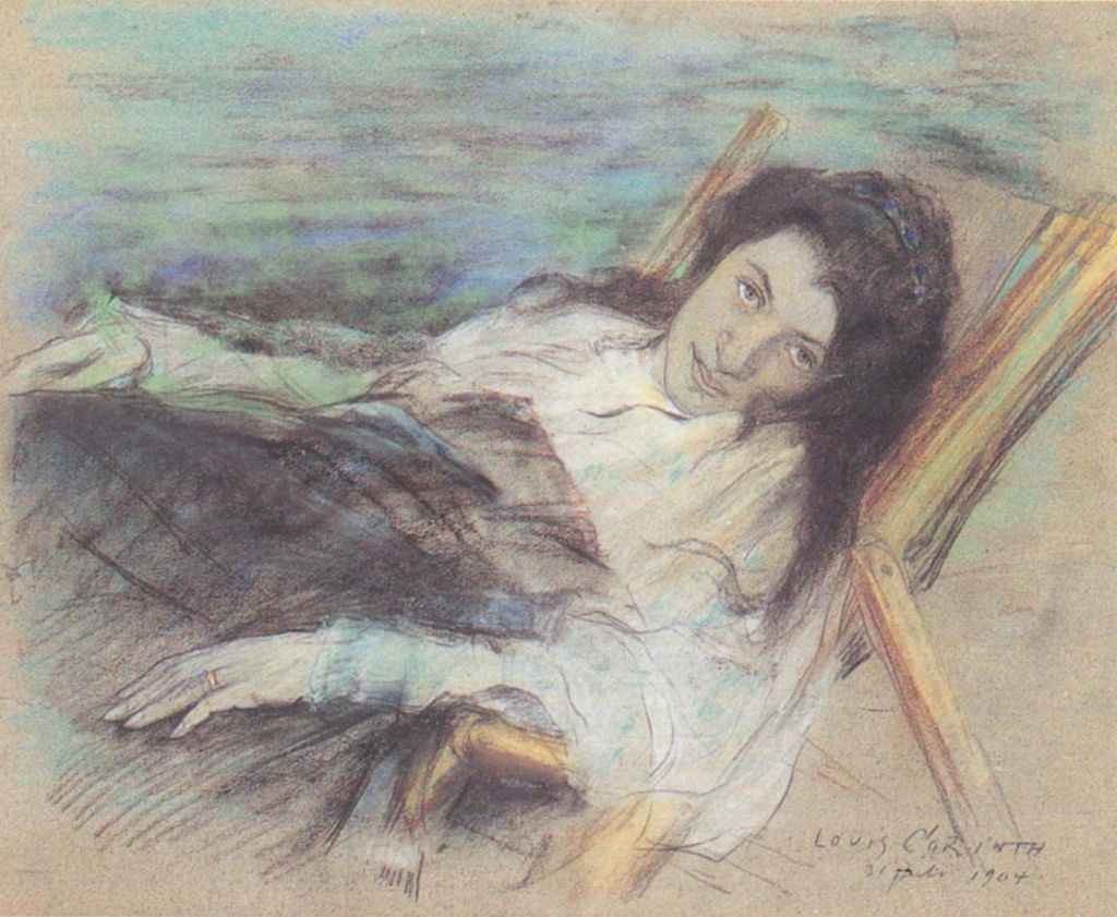Lovis Corinth (1858–1925), Charlotte Berend in a Deck Chair (1904), pastel and charcoal on board, 49.5 × 60 cm, LWL-Museum für Kunst und Kultur, Münster. Wikimedia Commons.