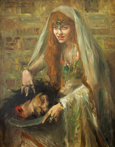 Lovis Corinth (1858–1925), Gertrud Eysoldt as Salome (1903), oil on canvas, dimensions not known, Schlossmuseum, Weimar. Wikimedia Commons.