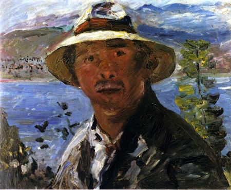Lovis Corinth (1858–1925), Self-portrait in a Straw Hat (1923), cardboard, 70 x 85 cm, Kunstmuseum Bern, Switzerland. Wikimedia Commons.