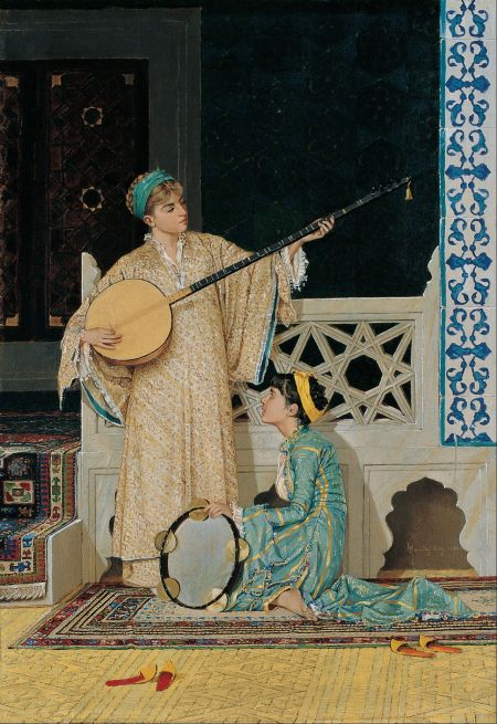 Osman Hamdi Bey (1842–1910), Two Musician Girls (1880), oil on canvas, 58 x 39 cm, Pera Müzesi, Istanbul, Turkey. Wikimedia Commons.