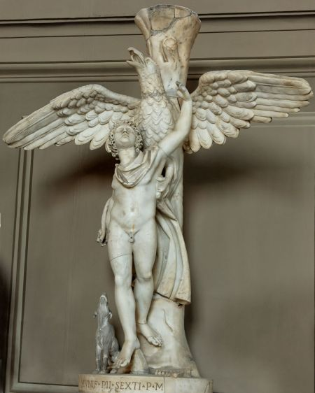 Leochares (fl 340-320 BCE), Roman copy of bronze original, Ganymede carried off by the eagle (c 325 BCE), marble, height 103 cm, Musei Vaticani, The Vatican City. Image by Jastrow, via Wikimedia Commons.