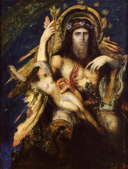 Gustave Moreau (1826–1898), Jupiter and Semele (1889-95), oil, dimensions and location not known. Wikimedia Commons.