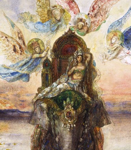 Gustave Moreau (1826–1898), The Sacred Elephant (Péri) (detail) (1885-6), watercolour and gouache on paper, 57 x 43.5 cm, National Museum of Western Art 国立西洋美術館 (Kokuritsu seiyō bijutsukan), Tokyo, Japan. Wikimedia Commons.