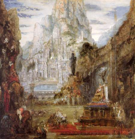 Gustave Moreau (1826–1898), The Triumph of Alexander the Great (c 1873-90), oil on canvas, 155 x 155 cm, Musée National Gustave-Moreau, Paris. Wikimedia Commons.