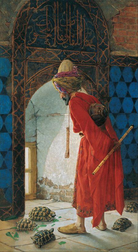Osman Hamdi Bey (1842–1910), The Tortoise Trainer (1906), oil on canvas, 221.5 x 120 cm, Pera Müzesi, Istanbul. Wikimedia Commons.
