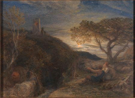 Samuel Palmer (1805–1881), The Lonely Tower (1868), watercolor, gouache and gum arabic on London board: a high-quality pasteboard sheet made of Whatman's finest drawing paper, 51.4 x 70.8 cm, Yale Center for British Art, New Haven, CT. Wikimedia Commons.