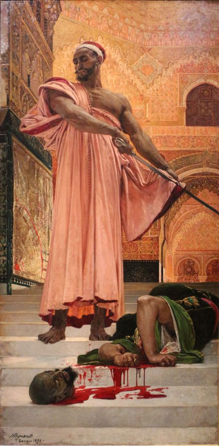Henri Regnault (1843–1871), Summary Execution under the Moorish Kings of Grenada (1870), oil on canvas, 305 x 146 cm, Musée d'Orsay, Paris. Image by Sailko, via Wikimedia Commons.