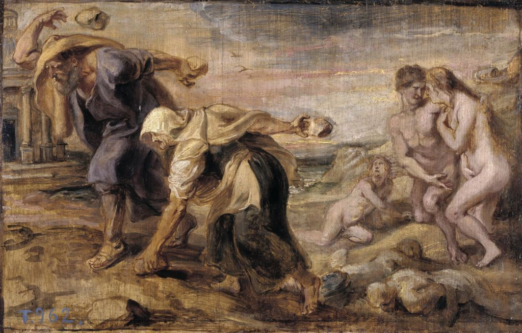 Peter Paul Rubens (1577–1640), Deucalion and Pyrrha (1636), oil on panel, 26.5 × 41.5 cm, Museo Nacional del Prado, Madrid. Wikimedia Commons.