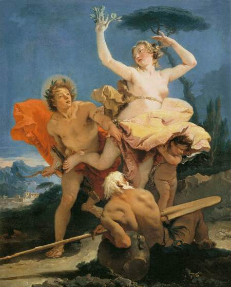 Giovanni Battista Tiepolo (1696–1770), Apollo and Daphne (c 1744-45), oil on canvas, 96 x 79 cm, Musée du Louvre, Paris. Wikimedia Commons.