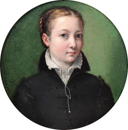Sofonisba Anguissola (1530–1625), Self-portrait (date not known), oil on panel, diameter 13.2 cm, Private collection. Wikimedia Commons.