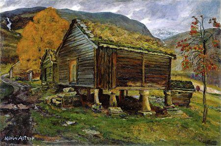 Nikolai Astrup (1880–1928), Storehouse in Jølster (1902-05), oil on canvas, 66 x 99 cm, Nasjonalmuseet for Kunst, Arkitektur og Design, Oslo. The Athenaeum.