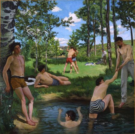 Frédéric Bazille (1841–1870), Summer Scene (Bathers) (1869-70), oil on canvas, 160 × 160.7 cm, Fogg Art Museum, Harvard University, Cambridge, MA. Wikimedia Commons.