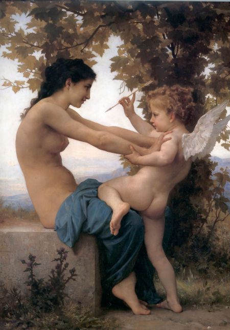 William-Adolphe Bouguereau (1825–1905), A Young Girl Defending Herself Against Eros (c 1880), oil on canvas, 81.6 × 57.8 cm, J. Paul Getty Museum, Los Angeles, CA. Wikimedia Commons.