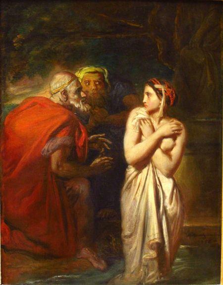 Théodore Chassériau (1819–1856), Susanna and the Elders (1856), oil on canvas, 40 x 31.5 cm, Musée du Louvre, Paris. Wikimedia Commons.