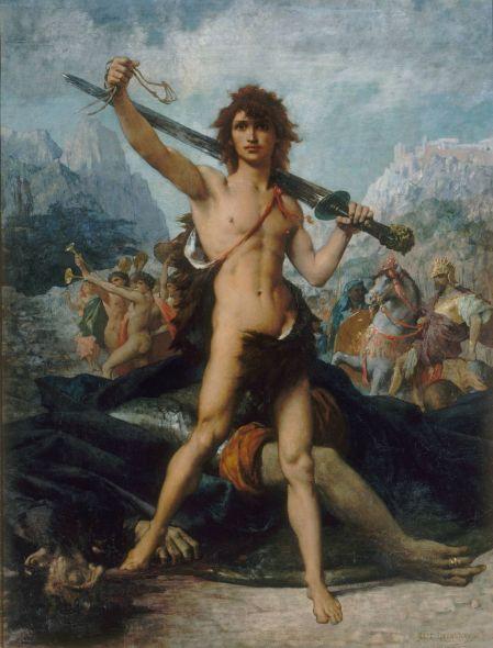 Jules-Élie Delaunay (1828-1891), David Triumphant (1874), oil on canvas, 147 x 114 cm, Musée des Beaux-Arts de Nantes, Nantes, France. Wikimedia Commons.