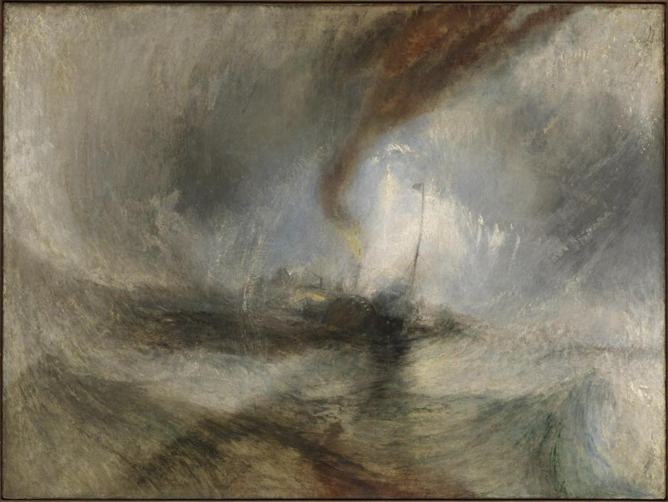 Snow Storm - Steam-Boat off a Harbour's Mouth exhibited 1842 by Joseph Mallord William Turner 1775-1851