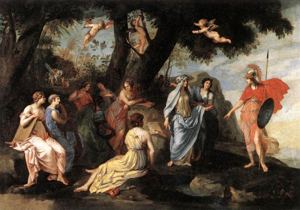 Changing Stories Ovids Metamorphoses On Canvas 23 Minerva And The Muses
