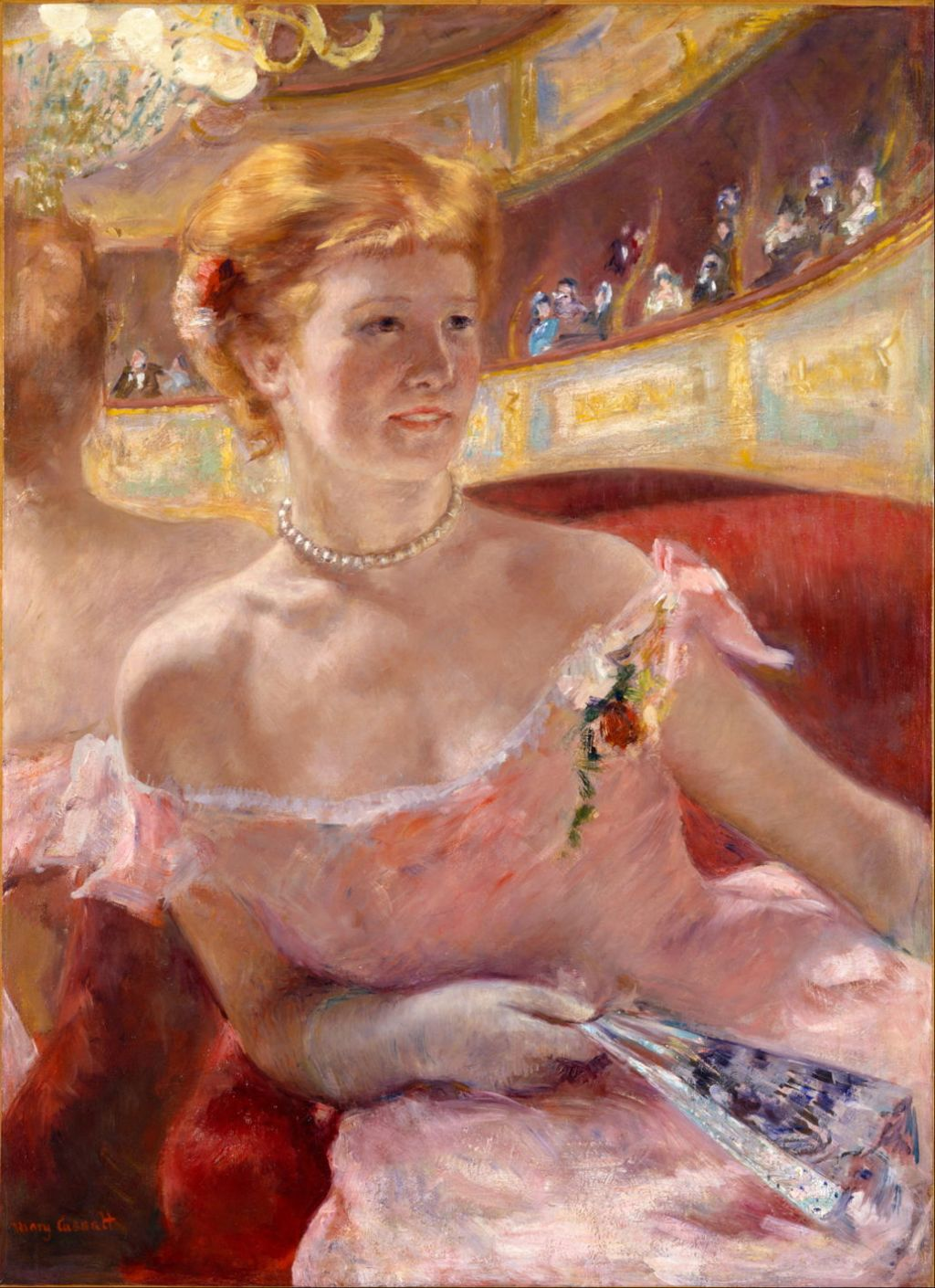 Mary Cassatt 1844 1926 Woman With A Pearl Necklace In Loge 1879 Oil On Canvas 813 X 597 Cm Philadelphia Museum Of Art PA