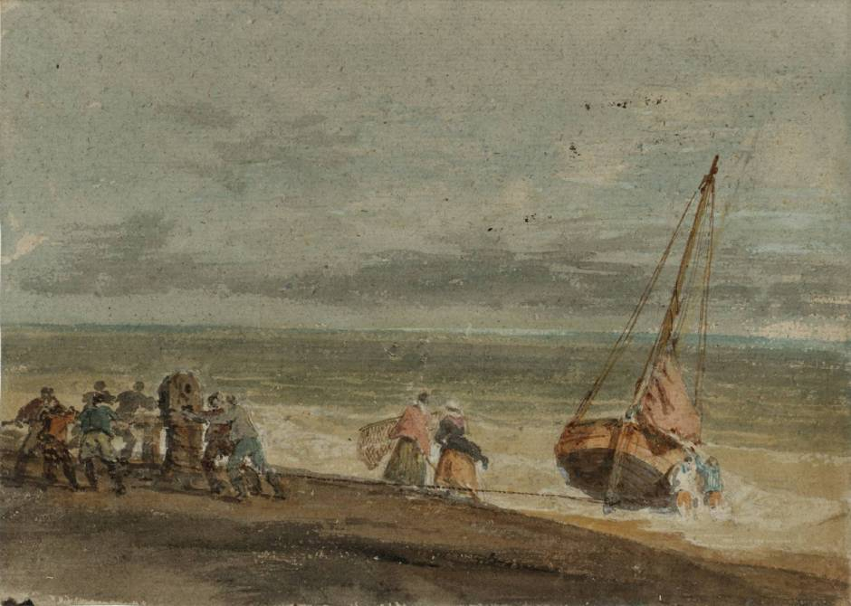 Fishermen Hauling a Boat through Surf on a Windlass circa 1796 by Joseph Mallord William Turner 1775-1851