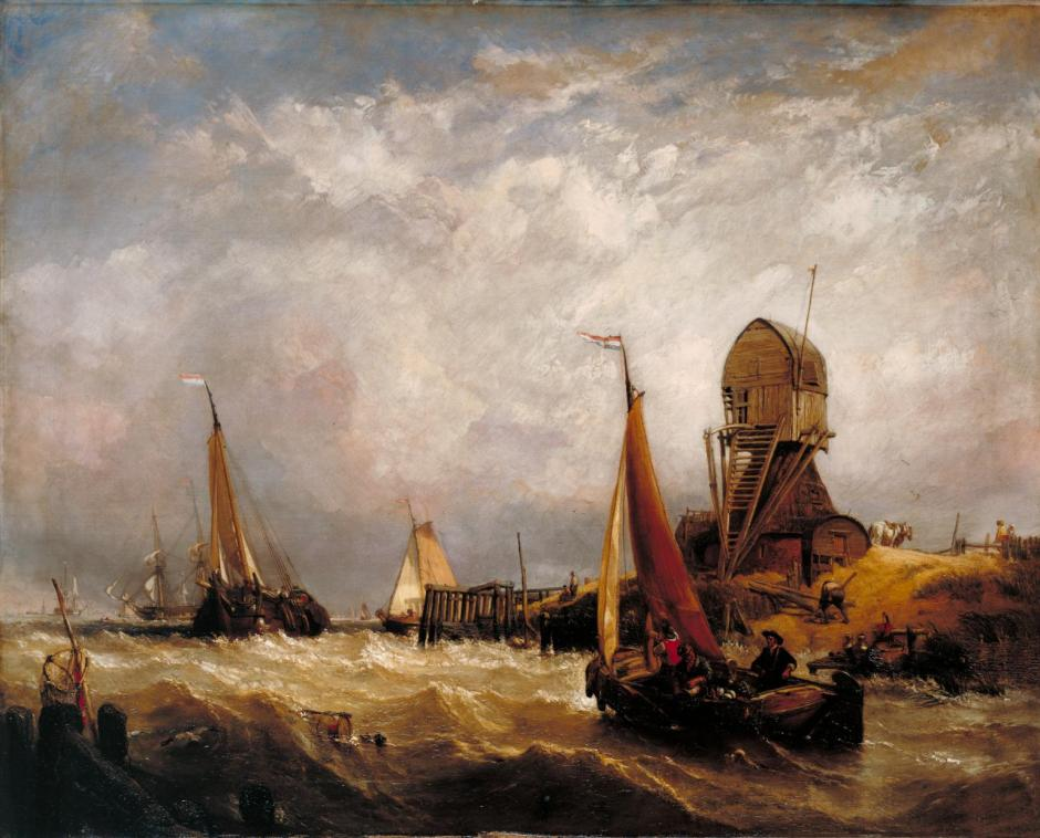 Oude Scheld - Texel Island, Looking towards Nieuwe Diep and the Zuider Zee exhibited 1844 by Clarkson Frederick Stanfield 1793-1867