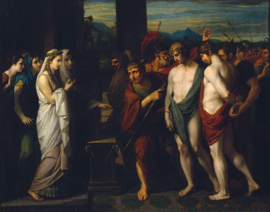 Pylades and Orestes Brought as Victims before Iphigenia 1766 by Benjamin West 1738-1820