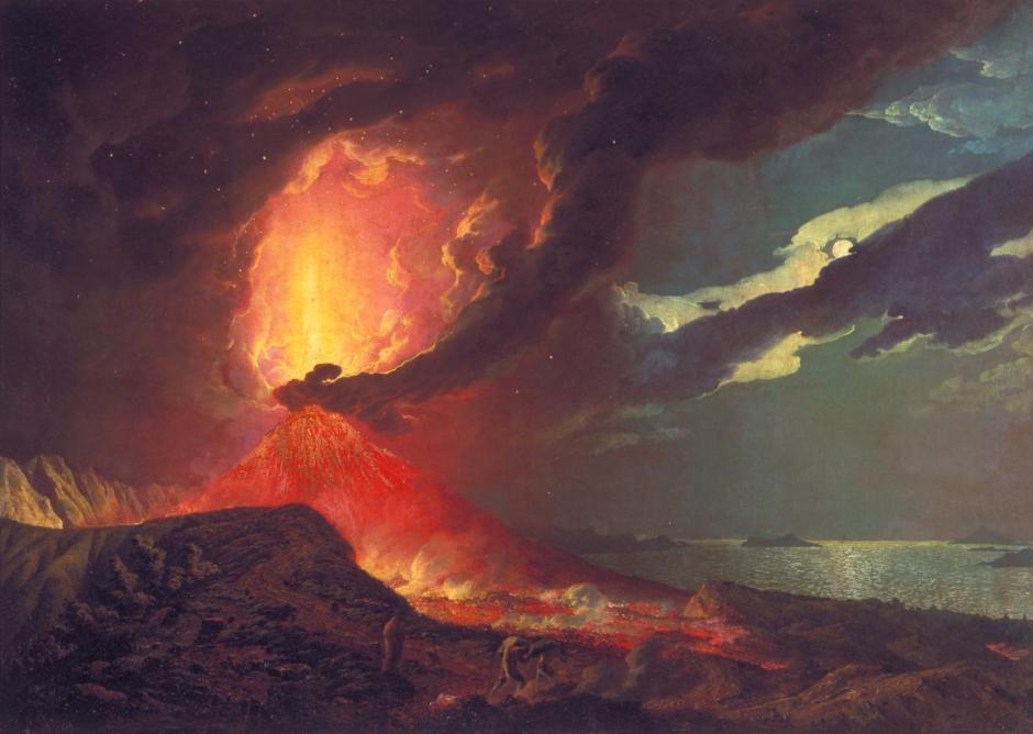 Vesuvius in Eruption, with a View over the Islands in the Bay of Naples c.1776-80 by Joseph Wright of Derby 1734-1797